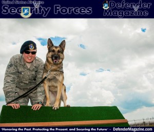 Senior Airman Heather Johnson, 5th Security Forces Squadron military working dog handler, and her MWD Cyndy, perch on top of an obstacle behind the kennels on Minot Air Force Base, N.D., July 29, 2014. Johnson has built a strong bond with Cyndy and because of constant training performing their daily duties is easy for the two of them. (U.S. Air Force photo/Senior Airman Stephanie Morris)