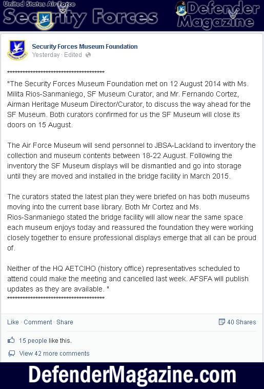 Security Forces Museum Closing it's doors