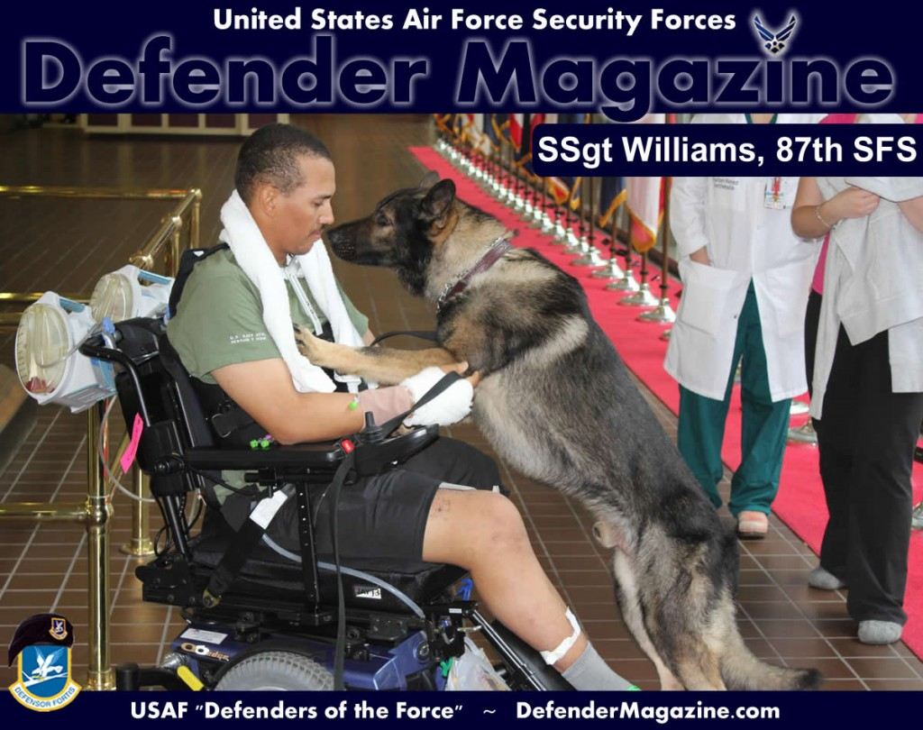 Staff Sgt. Brian Williams and his military working dog Carly greet each other at Walter Reed National Military Medical Center in Bethesda, Md. (Courtesy photo/Staff Sgt. Brian Williams)